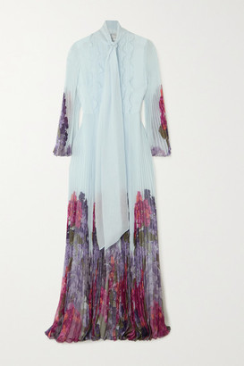 Valentino Ruffled Pleated Floral-print Silk-chiffon Gown - Blue
