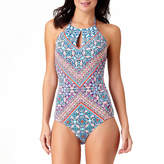 Liz Claiborne Paisley High Neck One Piece Swimsuit