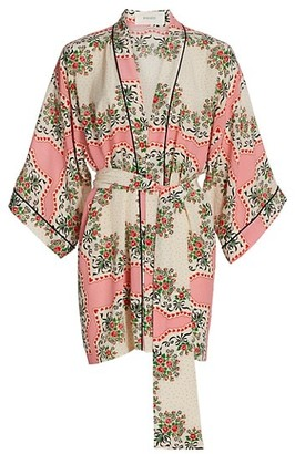 Rodarte Bouquet Printed Silk Belted Robe