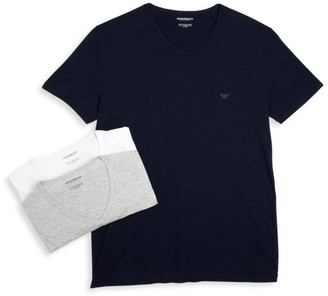 Emporio Armani Genuine Cotton V-Neck T-Shirts Set of 3
