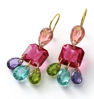 Baccarat Yellow Gold and Crystal 3-Tier Marie-Helene de Taillac Earrings