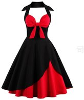 Suroomy Juniors 1950 Vintage Cocktail Dress Halter Black & Red Homecoming Dresses