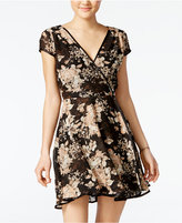 Teeze Me Juniors' Printed Fit & Flare Wrap Dress