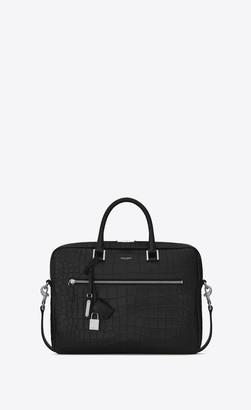 Saint Laurent Sac De Jour Briefcase In Crocodile Embossed Leather Black Onesize