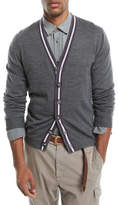 Brunello Cucinelli Contrast-Stripe Wool-Blend Cardigan