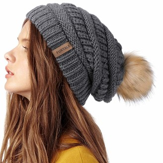 FURTALK Womens Winter Knit Slouchy Beanie Hat Warm Skull Ski Cap Faux Fur Pom Pom Hats for Women - grey - One Size
