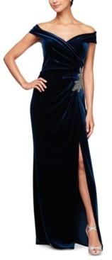 Alex Evenings Off-the-Shoulder Velvet Gown