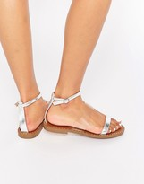London Rebel Ankle Strap Flat Sandals