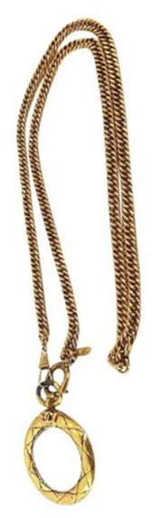 Chanel Gold Tone Metal Magnifier Pendant Chain Necklace