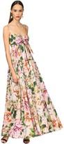 Dolce & Gabbana Long Flower Print Cotton Poplin Dress