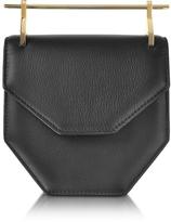 M2Malletier Amor Fati Black Leather Shouder Bag w/Double Metal Handles