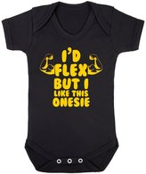 FLOSO Baby Girls/Boys I Would Flex But I Like This Onesie Short Sleeve Bodysuit (3-6 Months)