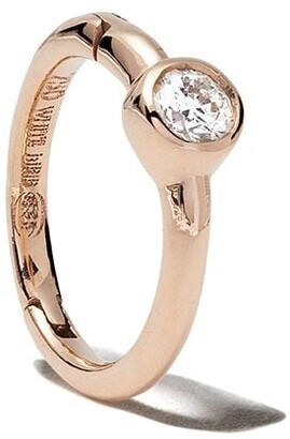 White Bird 18kt rose gold diamond Justine hoop single earring