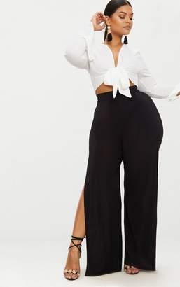 PrettyLittleThing Plus Black Wide Leg Slinky Trousers