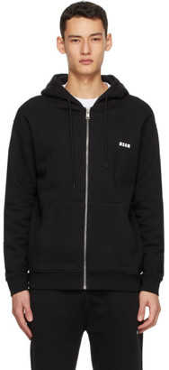 MSGM Black Zip-Up Logo Hoodie