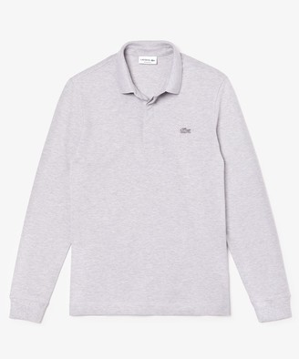 Lacoste Regular Fit Long-Sleeve Stretch Cotton Paris Polo in Grey