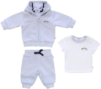 HUGO BOSS Baby Boys 3 Piece Logo Tracksuit and T-Shirt Gift Set - Pale Blue