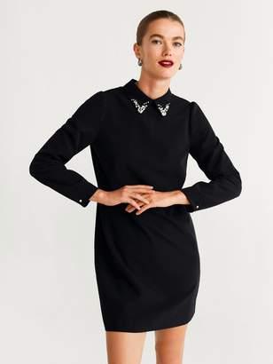MANGO Embellished Collar Shift Dress - Black