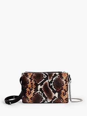 AllSaints Fetch Leather Snake Print Chain Wallet Bag, Brown