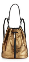Elizabeth and James Cynnie Embossed Leather Drawstring Backpack, Bronze
