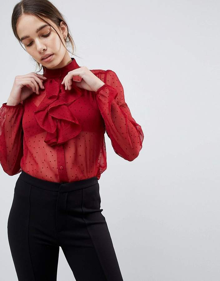 Minimum Frill Front Sheer Blouse