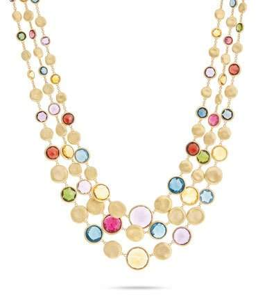 Marco Bicego Jaipur Three Strand Collar with Mixed Elevated Gemstones