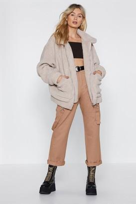 Nasty Gal Womens Ready Teddy Go Oversized Faux Fur Jacket - Stone