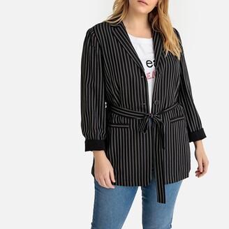 Castaluna Plus Size Striped Single-Breasted Blazer with Tie-Waist