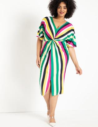 ELOQUII V-Neck Twist Front Dress