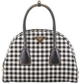 Prada Vichy Vintage Bowler Bag, White/Black