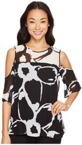 Vince Camuto Short Sleeve Cut Out Floral Cold-Shoulder Blouse Women's Blouse