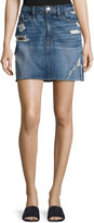 Frame Le Mini Raw-Edge Denim Skirt, Blue