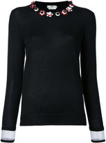 Fendi floral embellished sweater - women - Silk/Cashmere - 40