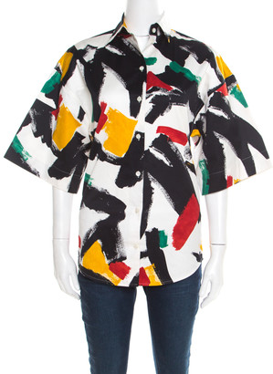 Celine White Cotton Multicolor Brush Stroke Print Short Sleeve Shirt S