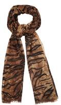 Saint Laurent Tiger-print wool scarf
