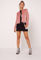 Missguided Velour Bomber Jacket Pink
