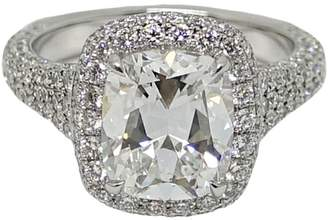 Platinum 3.02ct Center Cushion Cut Diamond RIng Size 6.5