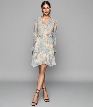 Reiss Dara - Leaf Printed Shift Dress in Blue