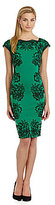 uncategorized  Who made Mindy Kalings black clutch handbag and green lace print dress?