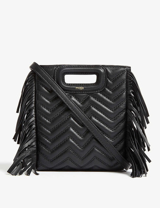 Maje Fringed quilted leather M cross-body bag