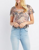 Charlotte Russe Floral Embroidered Mesh Top