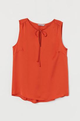 H&M Tie-front Satin Blouse - Orange