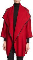 St. John Leather-Trim Kimono-Sleeve Artisan Cardigan, Ruby/Caviar
