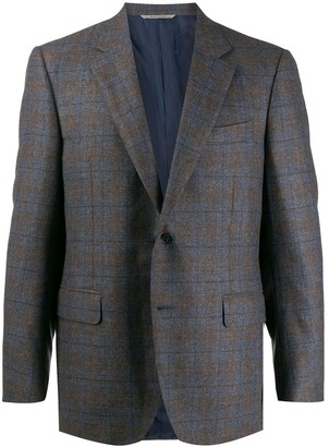 Canali Check Pattern Single Breasted Blazer