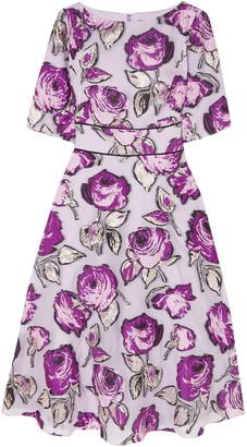 Lela Rose Metallic Fil Coupe Organza Midi Dress