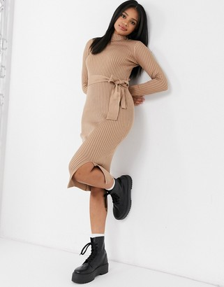 New Look tie waist knitted dress in camel