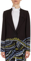 Erdem Alyse Floral-Print One-Button Jacket, Black/Multi