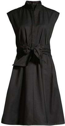 Josie Natori Cap-Sleeve Taffeta Flare Dress