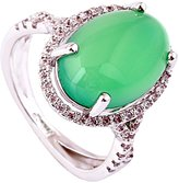 Acefeel Elegant Semi-precious Stones Micro Pave Zircon Emerald Ring Mother's Day Gift R170 Size 6