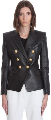 Balmain Leather Jacket In Black Leather